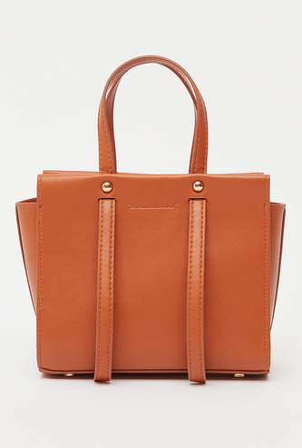 Solid Tote Bag with Double Handles and Detachable Sling Strap