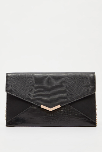 Textured Crossbody Bag with Chain-Link Strap