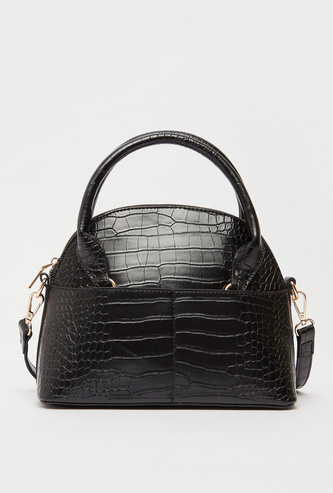 Textured Dome Bag with Detachable Strap and Zip Closure