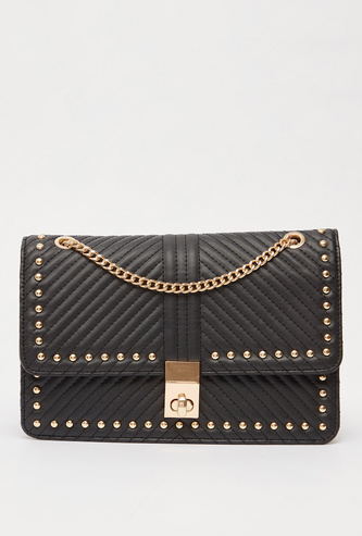 Quilted and Embellished Crossbody Bag with Chain-Link Strap
