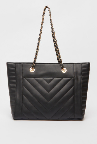 Quilted Tote Bag with Chain Link Strap