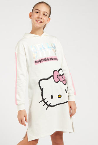 Hello Kitty Embellished Sweat Dress with Hooded Neck