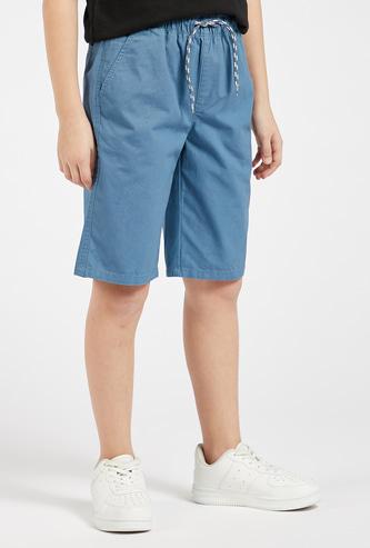 Solid Knee Length Shorts with Drawstring Closure and Pockets