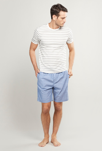 Striped T-shirt and Solid Shorts Set