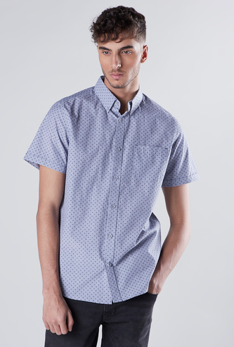 Printed Shirt with Chest Pocket and Short Sleeves