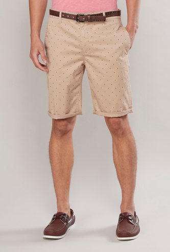 Printed Chino Shorts with Pocket Detail and Belt