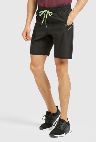 Solid Shorts with Pocket Detail and Drawstring Closure