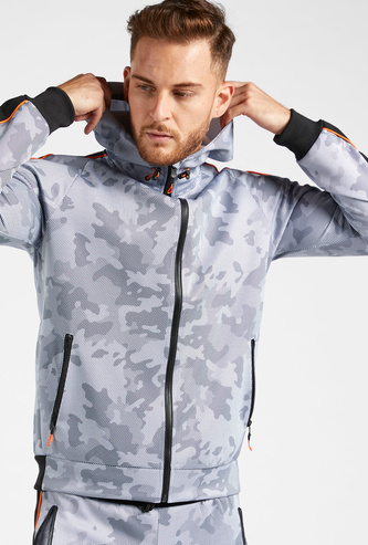 Camouflage Print Hoodie with Pockets and Long Sleeves