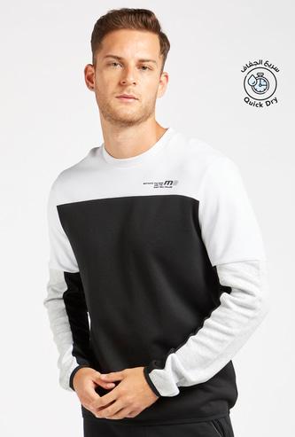 Panelled Crew Neck Sweatshirt with Long Sleeves