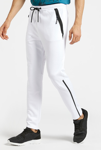 Solid Full Length Track Pants with Drawstring Closure and Pockets