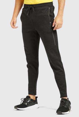 Slim Fit Solid Jog Pants with Pocket Detail and Drawstring