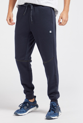 Slim Fit Full Length Textured Joggers with Drawstring Closure