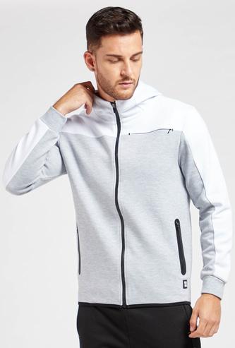 Panel Blocked Zip Through Hoodie with Long Sleeves