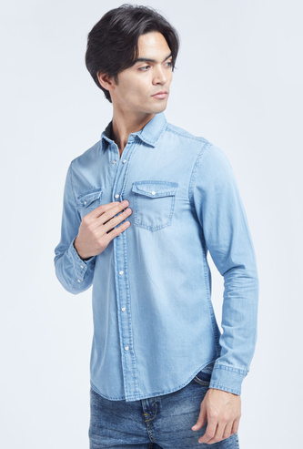 Solid Denim Shirt with Long Sleeves and Buttoned Flap Pockets