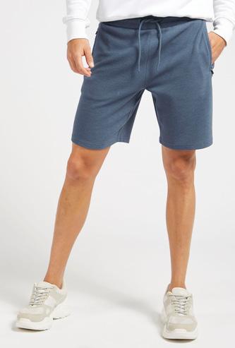 Textured Ottoman Shorts with Pockets and Drawstring Closure