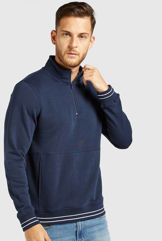 Textured High Neck Sweatshirt with Long Sleeves and Half Zip Closure