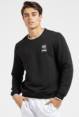 Textured Ottoman Sweatshirt with Round Neck and Long Sleeves