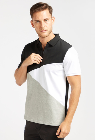Colourblocked Polo T-shirt with Collar and Short Sleeves