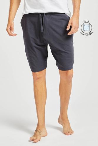 Solid Knit Shorts with Pocket Detail and Drawstring Closure