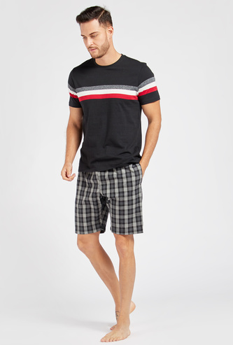 Striped Round Neck T-shirt and Checked Shorts Set