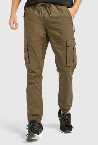 Solid Cargo Jog Pants with Pockets and Drawstring