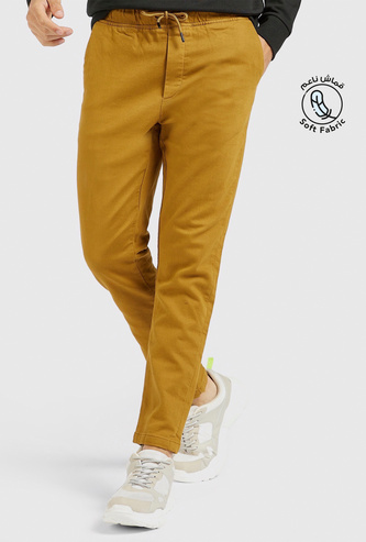 Solid Chinos with Pocket Detail and Drawstring Closure