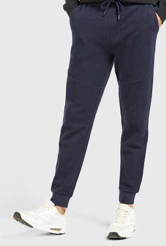Slim Fit Solid Pique Jog Pants with Pockets and Drawstring