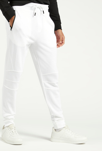 Slim Fit Full Length Cuffed Pants with Pockets and Elasticated Waist