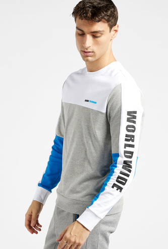 Slim Fit Panel Block Sweatshirt with Round Neck and Long Sleeves