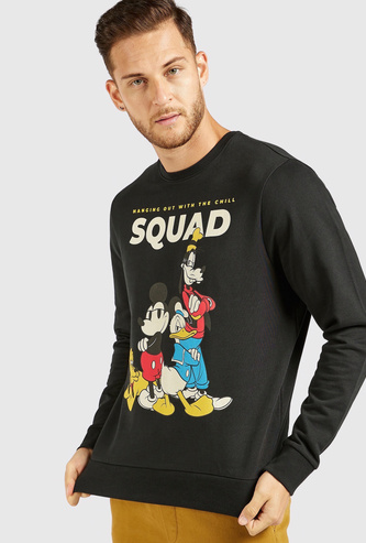 Mickey and Friends Graphic Print Sweatshirt with Crew Neck