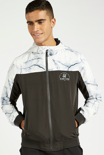 Printed Jacket with Hood and Pocket Detail