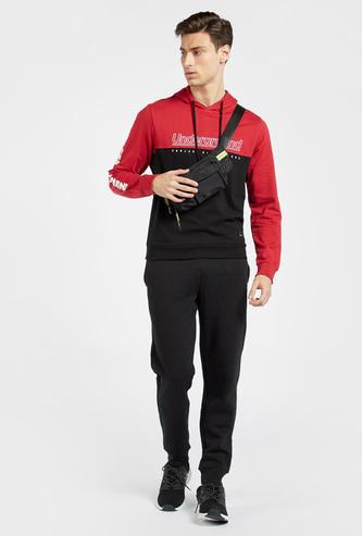 Colourblock Sweatshirt with Long Sleeves and Hood