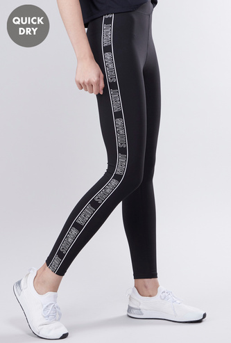 Quick Dry Slim Fit Printed Leggings with Elasticised Waistband
