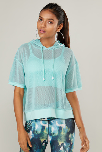 Solid Hooded Mesh Top with Short Sleeves