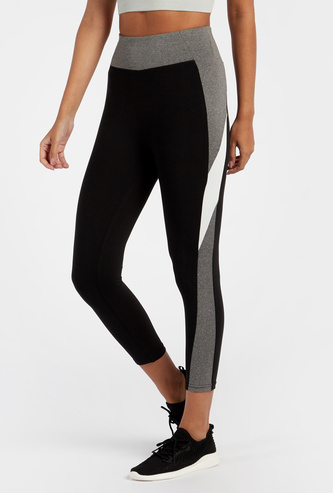 Panelled High Rise Leggings with 3/4 Length