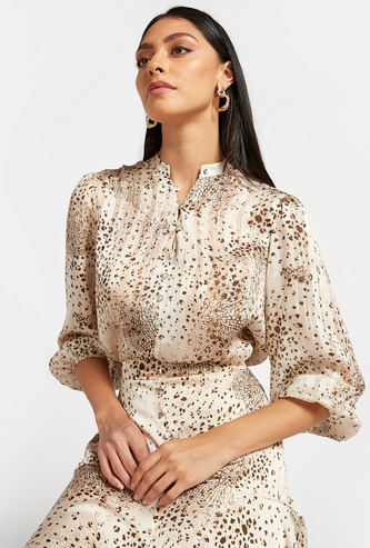 Animal Print Top with Puff Sleeves and Button Detail