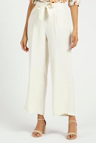 Solid Mid-Rise Palazzo Pants with Elasticated Waist and Tie-Ups