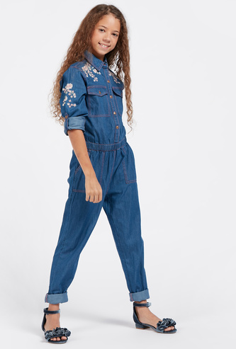 Floral Embroidered Denim Jumpsuit with Collar and Long Sleeves