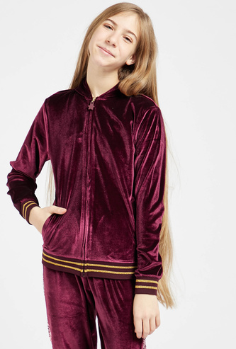 Velour Jacket with Long Sleeves and Sequin Detail