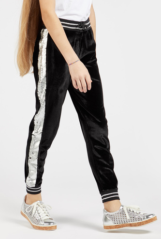 Full Length Velour Jog Pants with Sequin Detail and Drawstring Closure