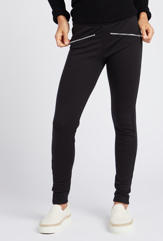 Full Length Solid Leggings with Elasticated Waist and Mock Zip Pockets