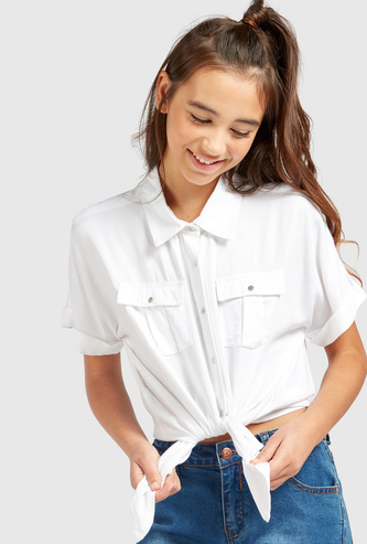 Solid Shirt with Short Sleeves and Knot Detail