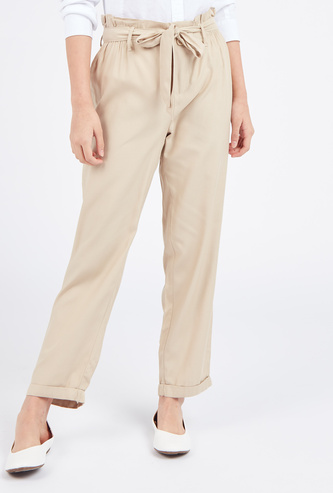 Solid Paperbag Full Length Pants with Waist Tie-Up