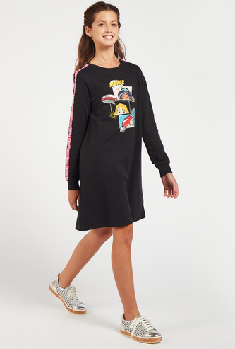 Princess Print Dress with Shoulder Tape Detail and Long Sleeves