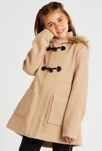 Textured Coat with Hooded Neck and Long Sleeves