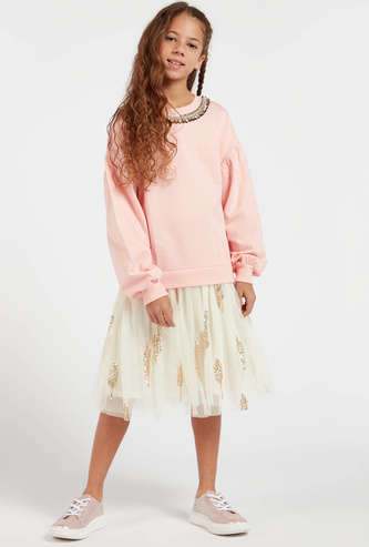 Embellished Round Neck Midi Dress with Long Sleeves