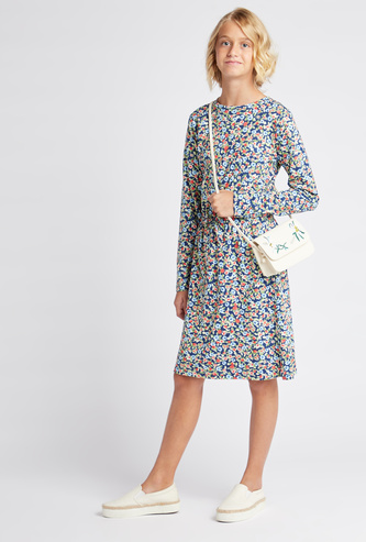 Printed Round Neck Knee Length Dress with Long Sleeves