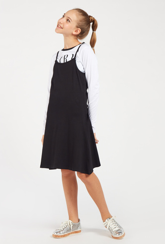 Solid Pinafore Dress with Printed Long Sleeves T-shirt