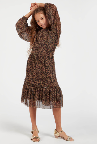 Animal Print Midi Dress with Round Neck and Bishop Sleeves