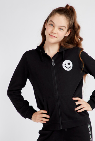 Smiley Print Anti-Pilling Hoodie with Long Sleeves and Pockets